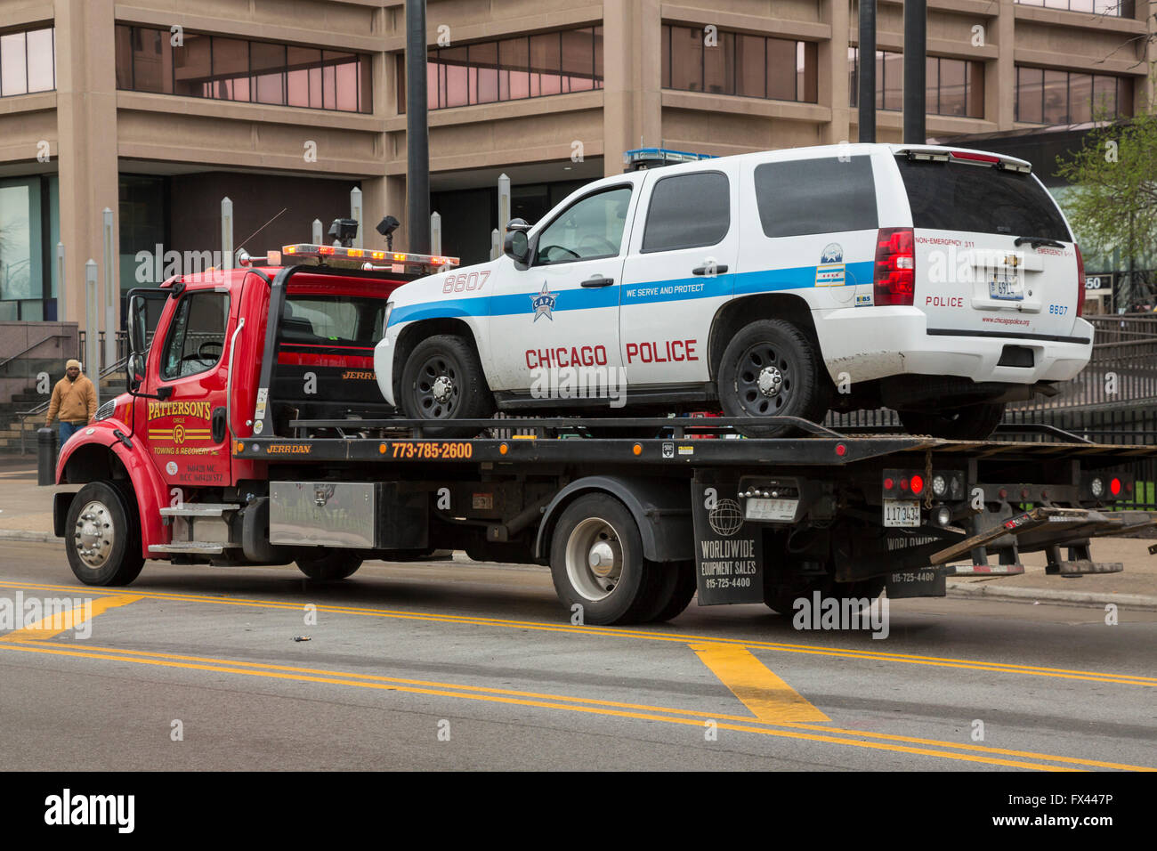 Chicago illinois a chicago police car on a tow truck stock image