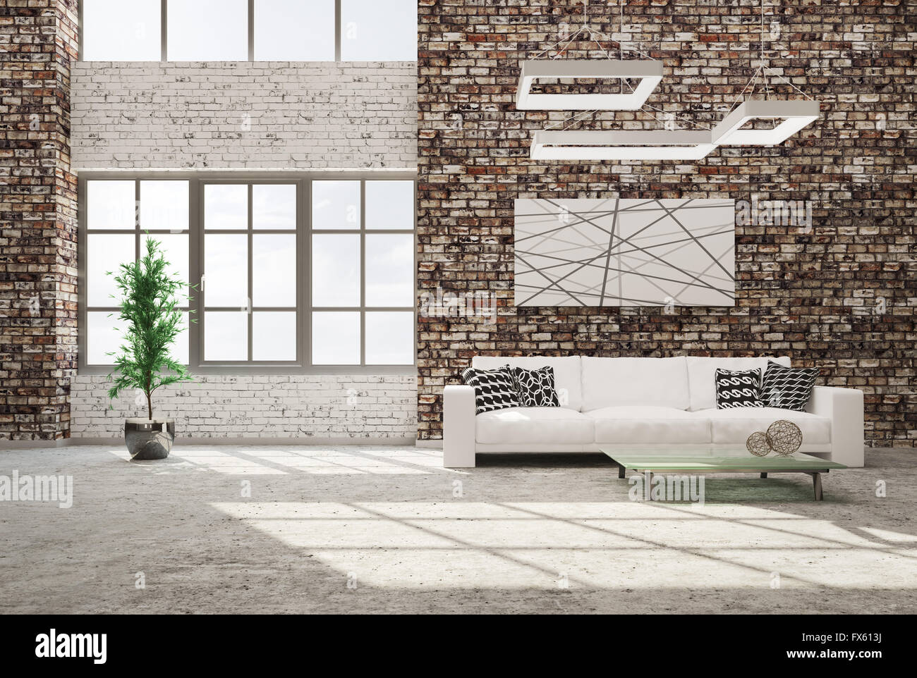 modern interior of living room with brick wall concrete floor