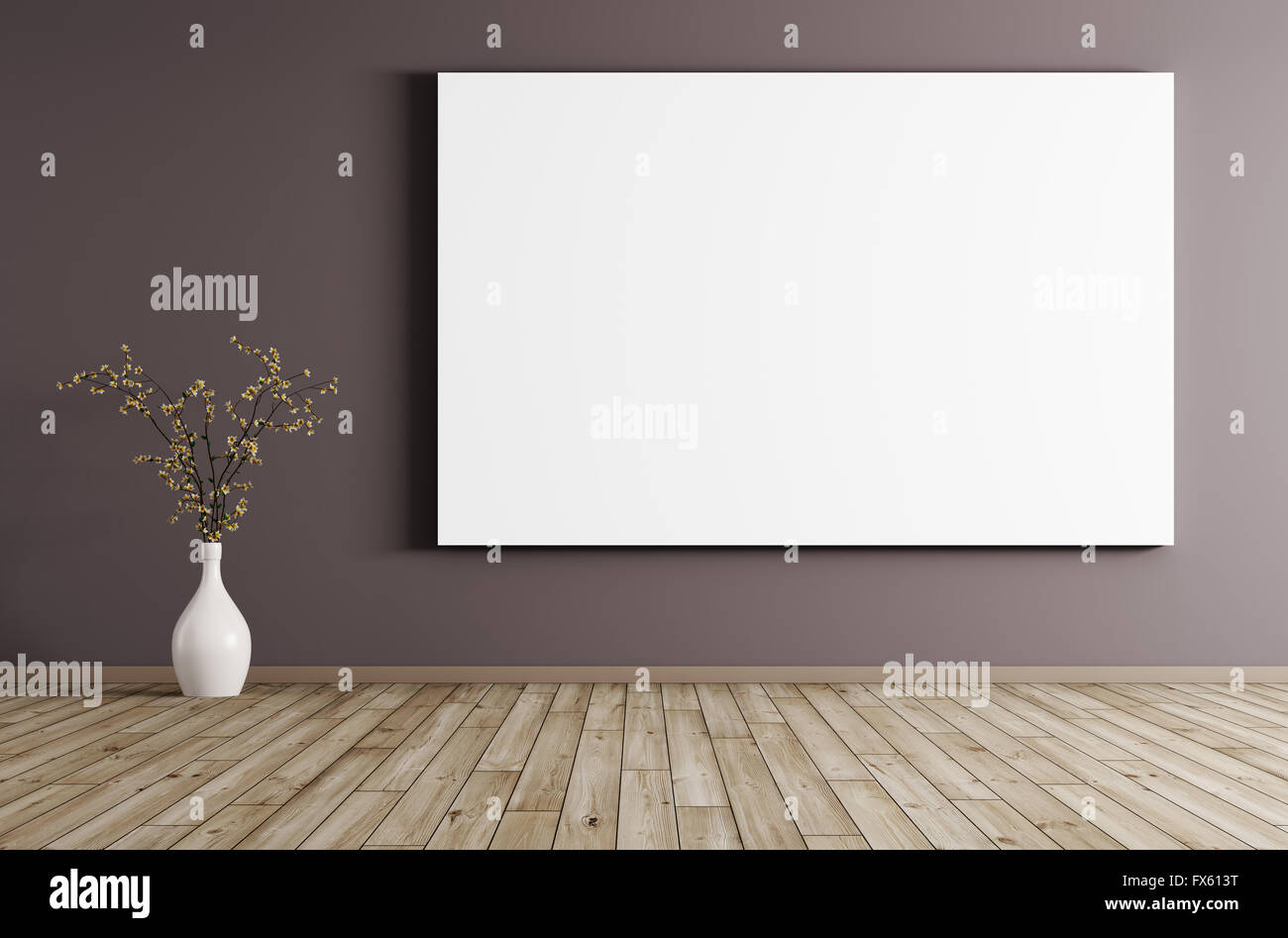 Big poster and flower vase in room with purple wall and wooden big poster and flower vase in room with purple wall and wooden floor interior background 3d rendering reviewsmspy