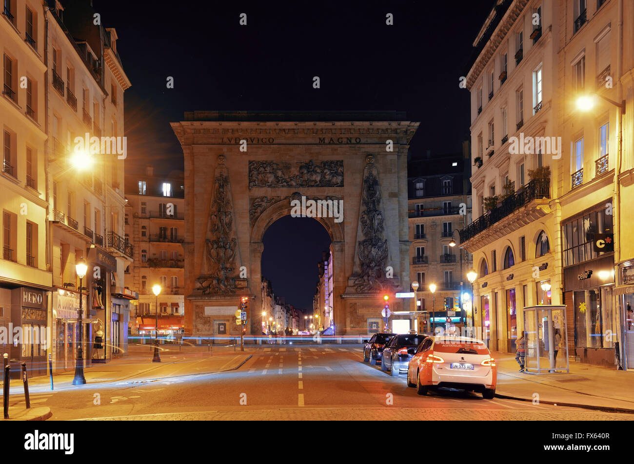 paris france may 13 street view at night on may 13 2015 in stock photo royalty free image. Black Bedroom Furniture Sets. Home Design Ideas