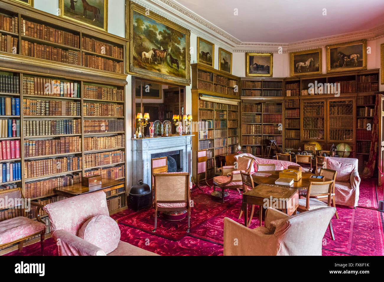 Library at Calke Abbey an early 18thC baroque mansion