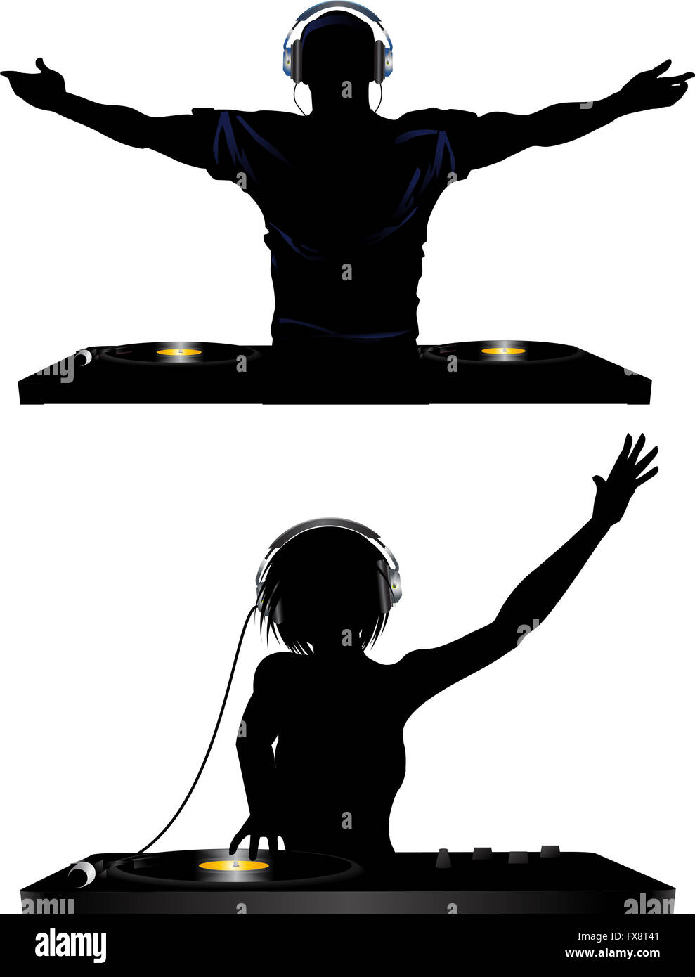 Male And Female Silhouette Of Dj Playing Records With Headphones And Stock Photo
