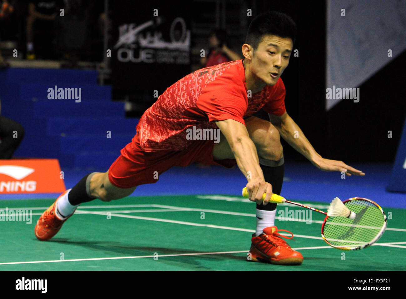 Singapore 13th Apr 2016 China s player Chen Long hits the
