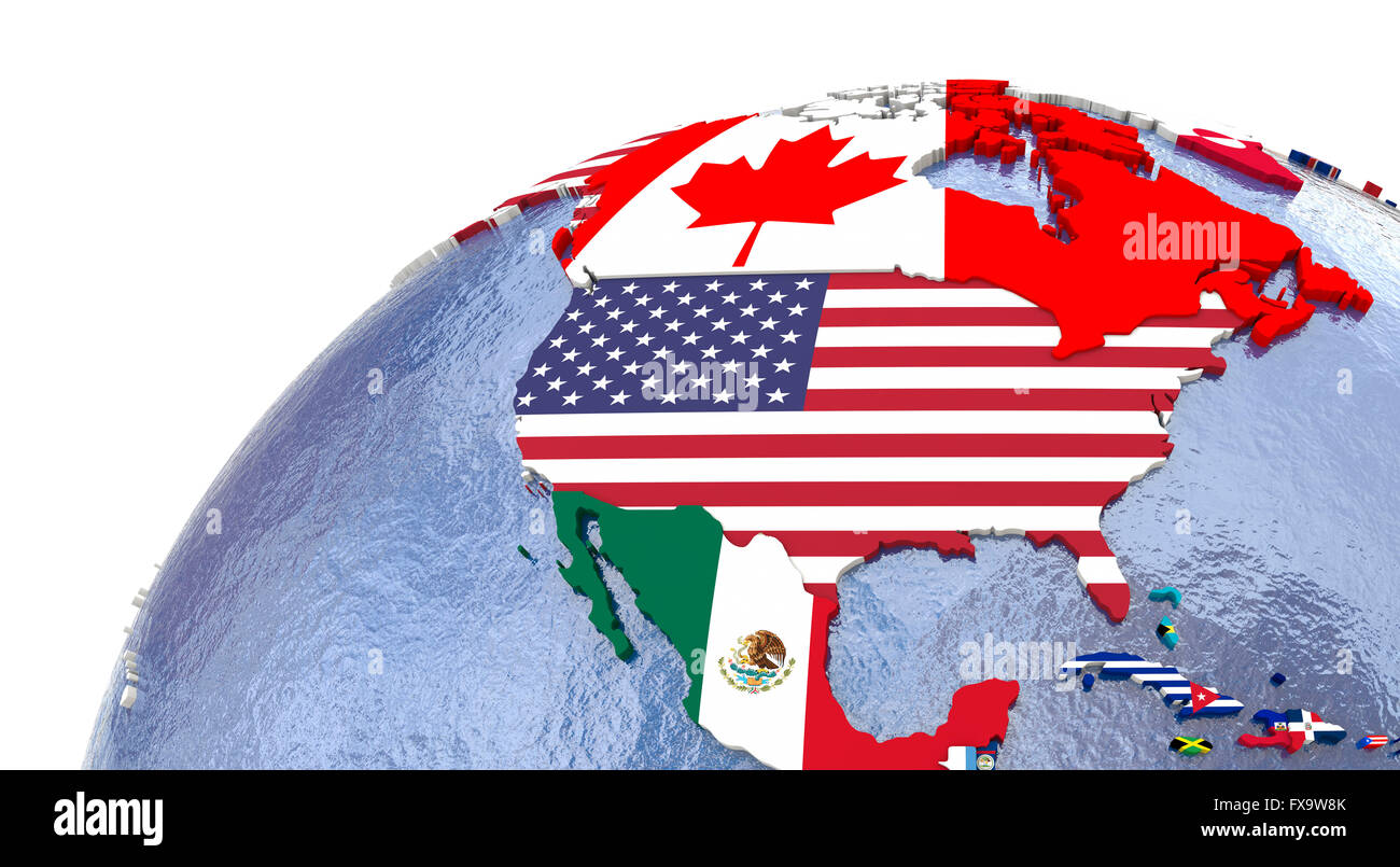 Political map of north America with each country represented by