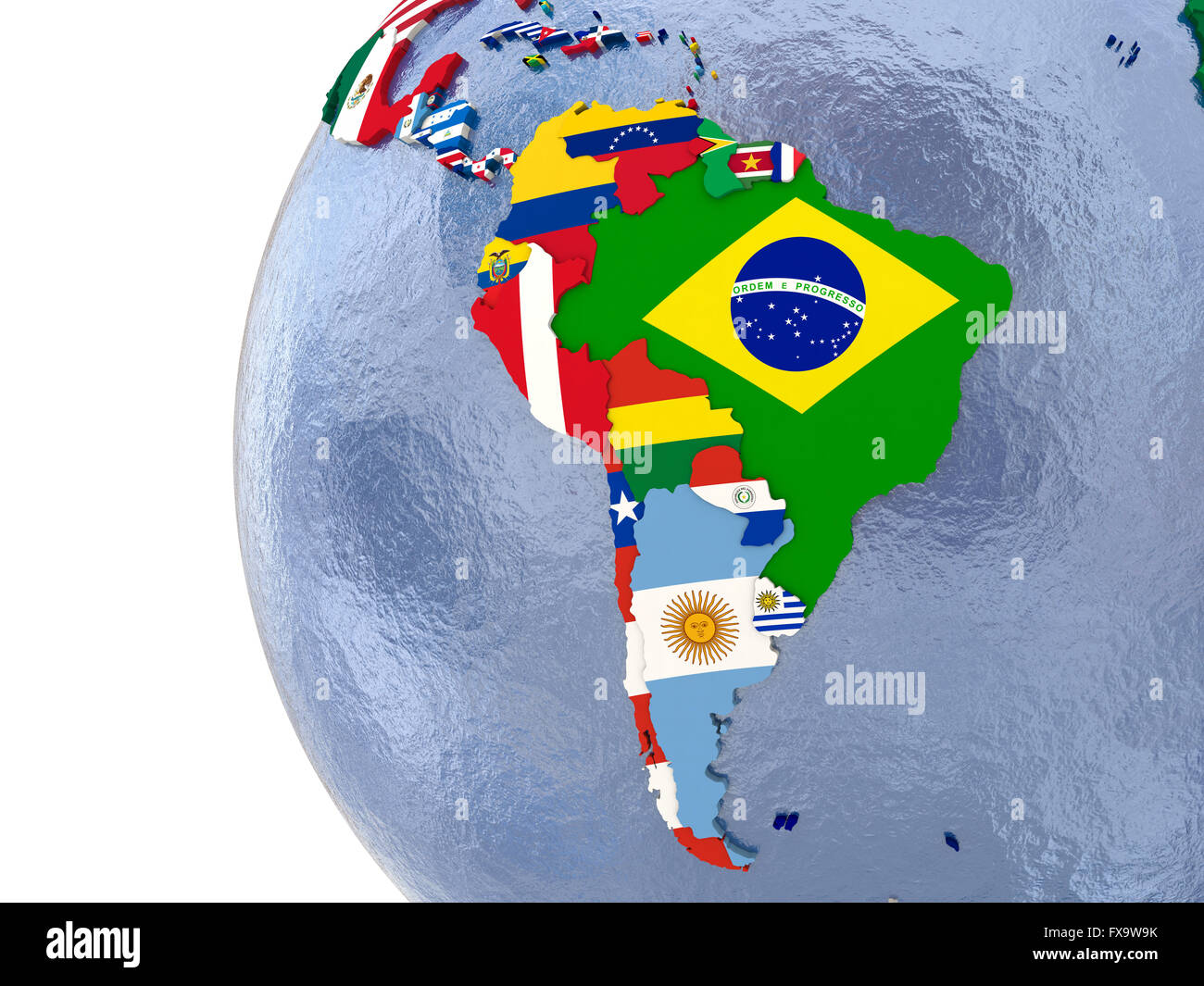 Political map of south america with each country represented by political map of south america with each country represented by its national flag gumiabroncs Images
