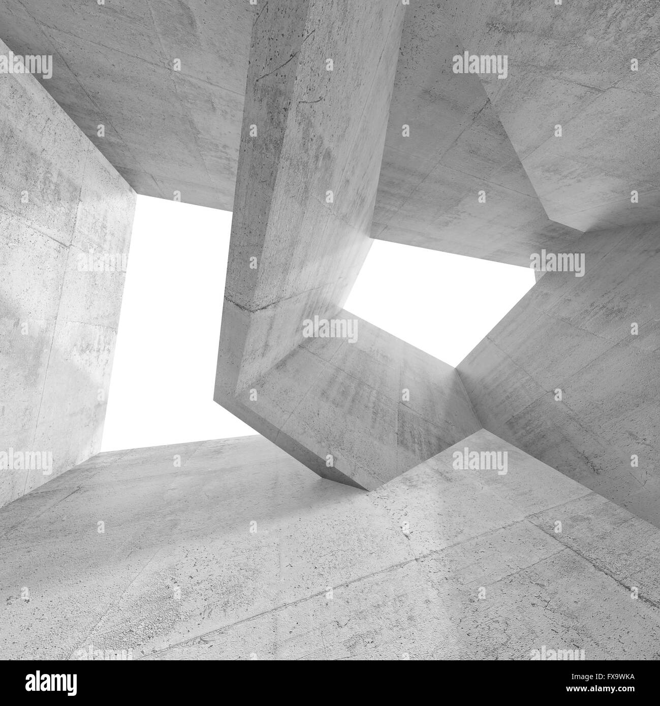 Concrete Interior Design abstract empty concrete interior design with windows and chaotic