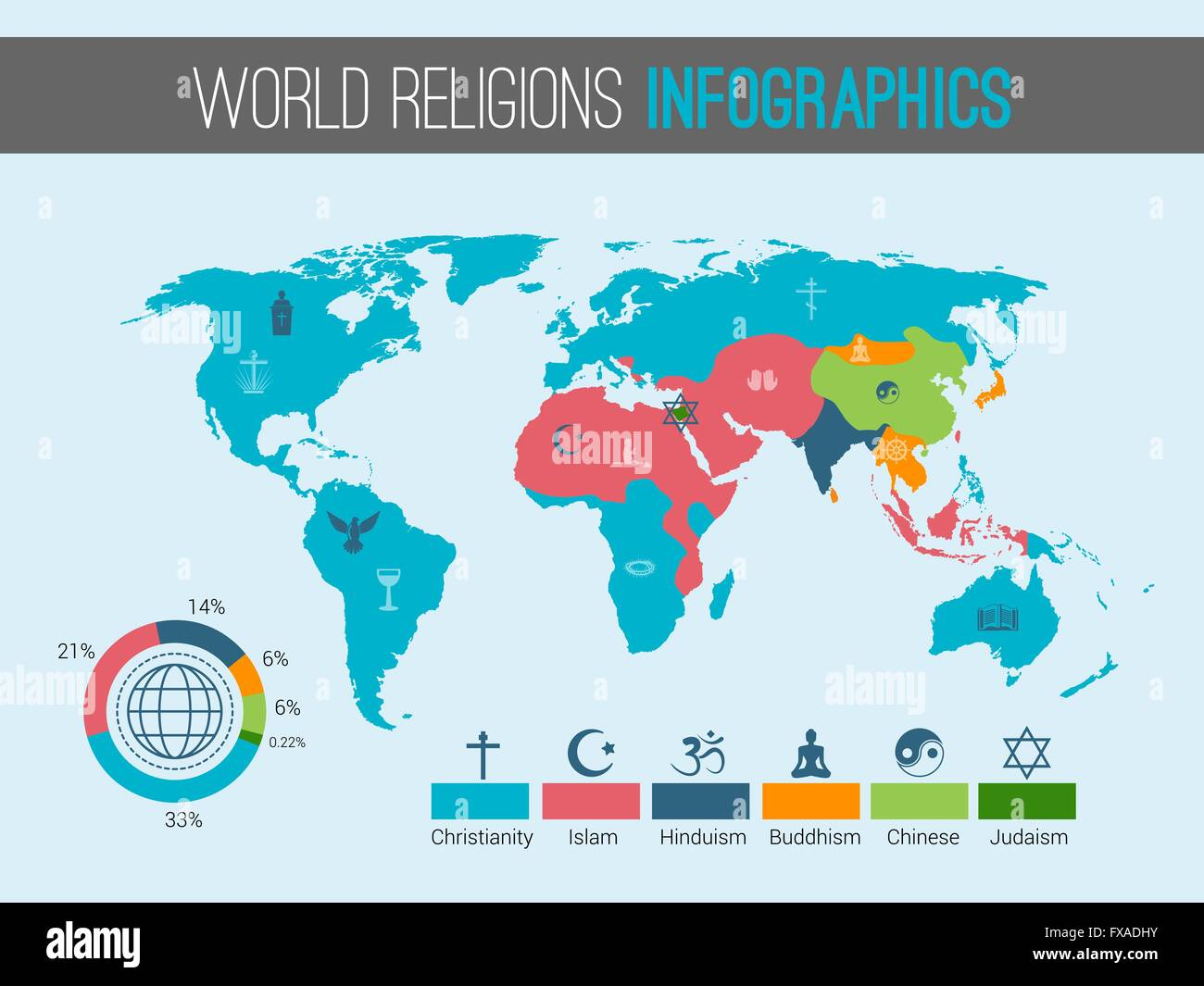 World Religions Map Stock Vector Art Illustration Vector Image - Christianity map