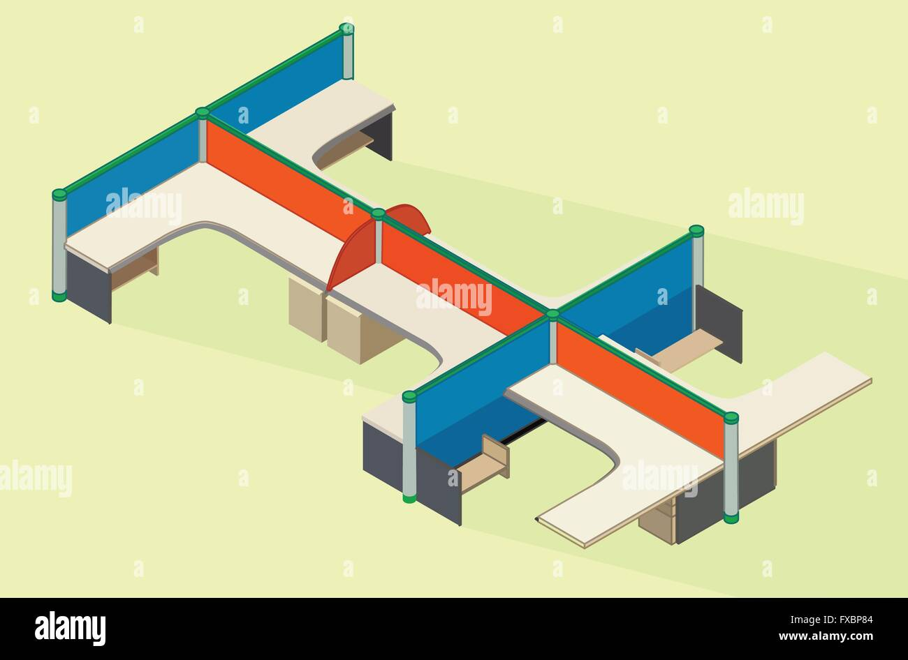 isometric office furniture vector collection. Office Furniture Workspace Isometric Flat Vector Collection H