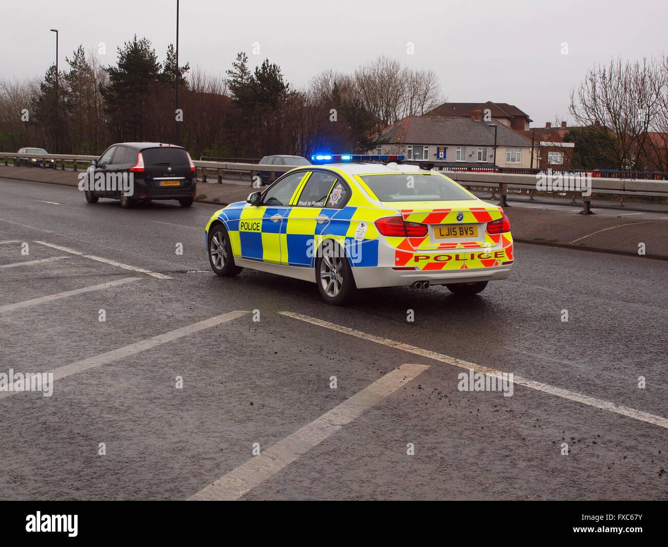 Newcastle upon tyne uk 14th april 2016 stationary northumbria police cars feeding traffic