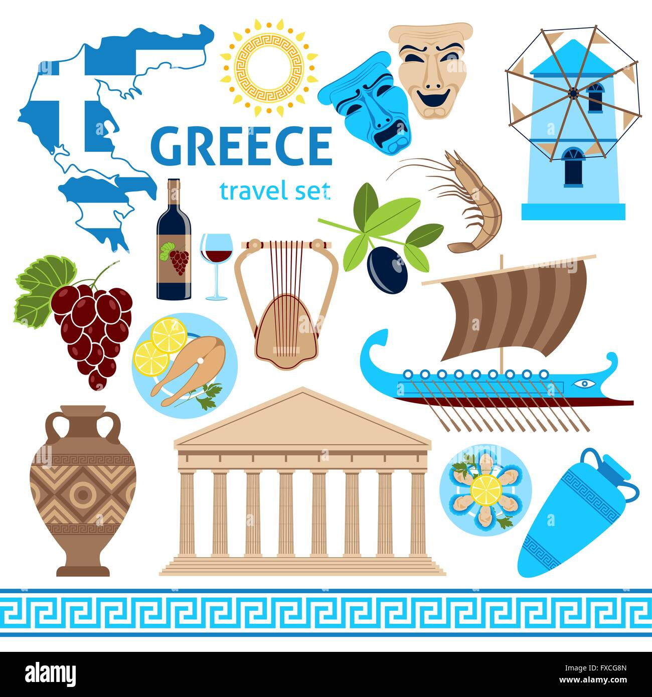 Ancient greece map stock vector images alamy greece symbols touristic set flat composition stock vector biocorpaavc Image collections