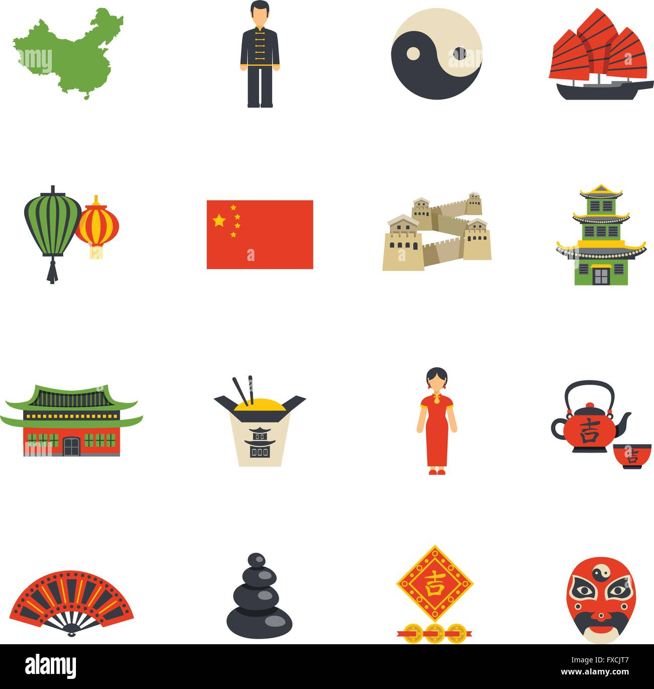 Chinese culture symbols flat icons set stock vector art chinese culture symbols flat icons set biocorpaavc Image collections