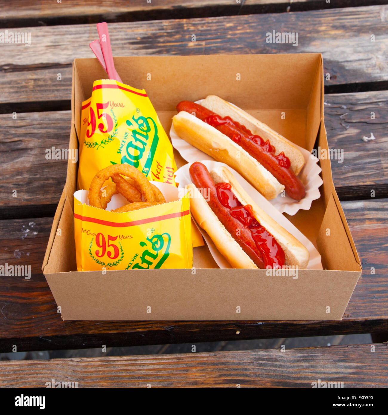 hot dogs with fries and onion rings at nathan 39 s hot dog. Black Bedroom Furniture Sets. Home Design Ideas