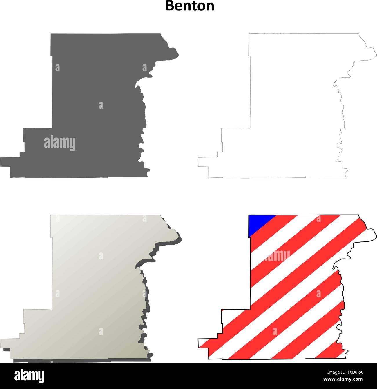 Benton County Oregon outline map set Stock Vector Art