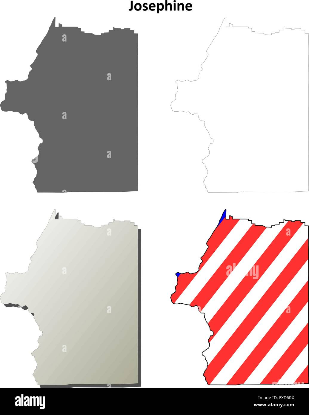Josephine County Oregon outline map set Stock Vector Art