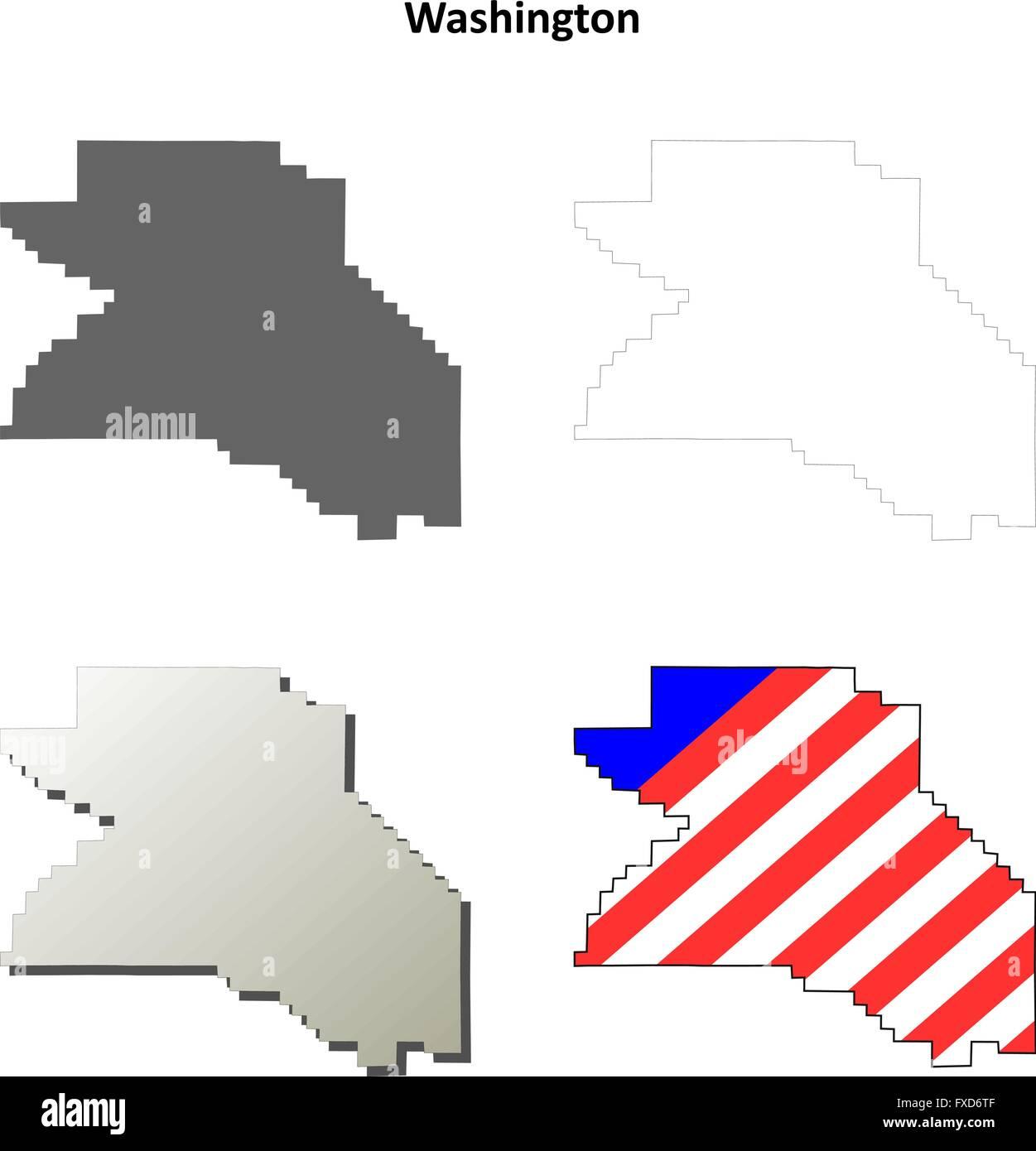 Washington County Oregon outline map set Stock Vector Art
