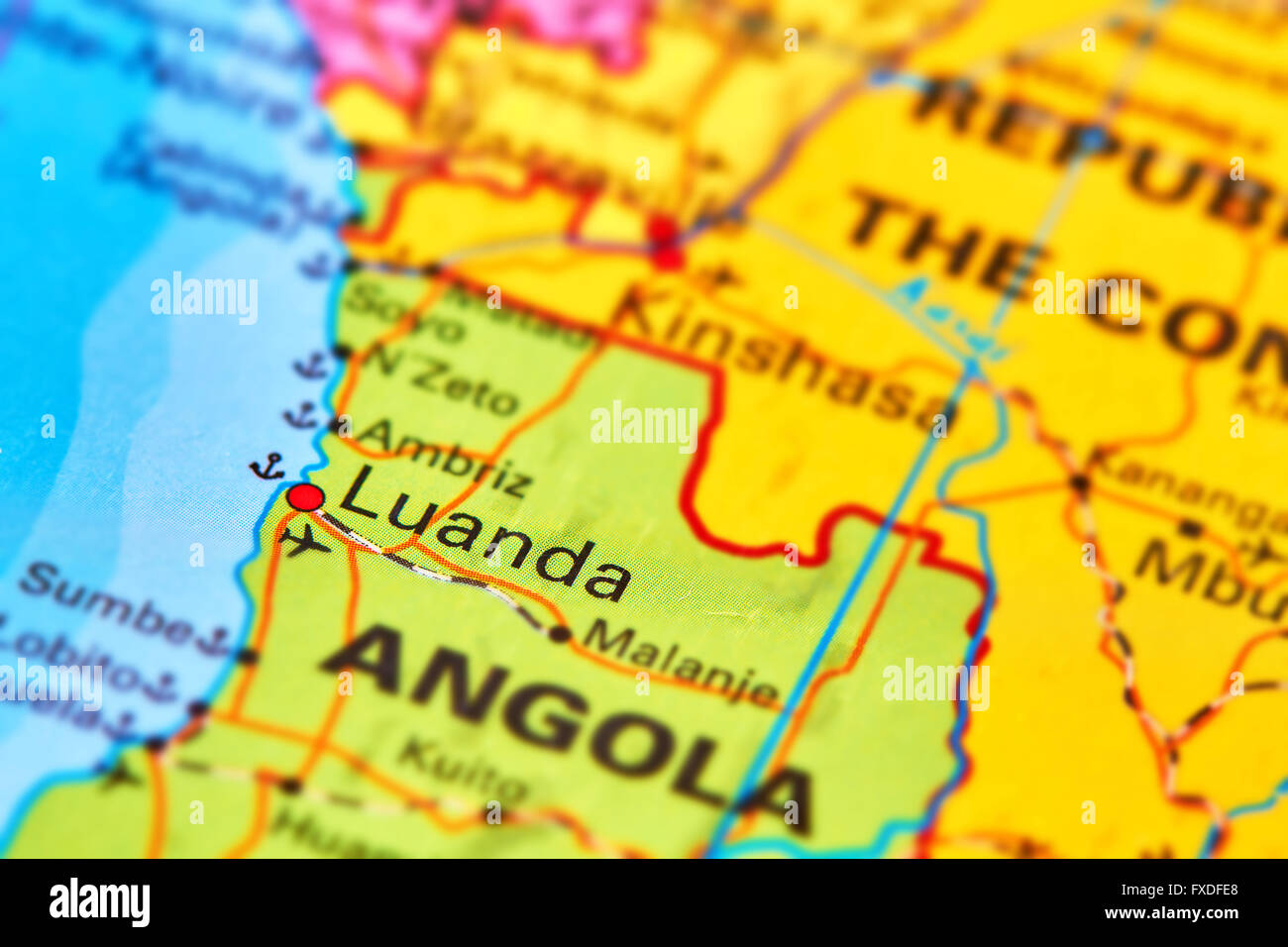 Luanda Capital City of Angola in Africa on the World Map Stock