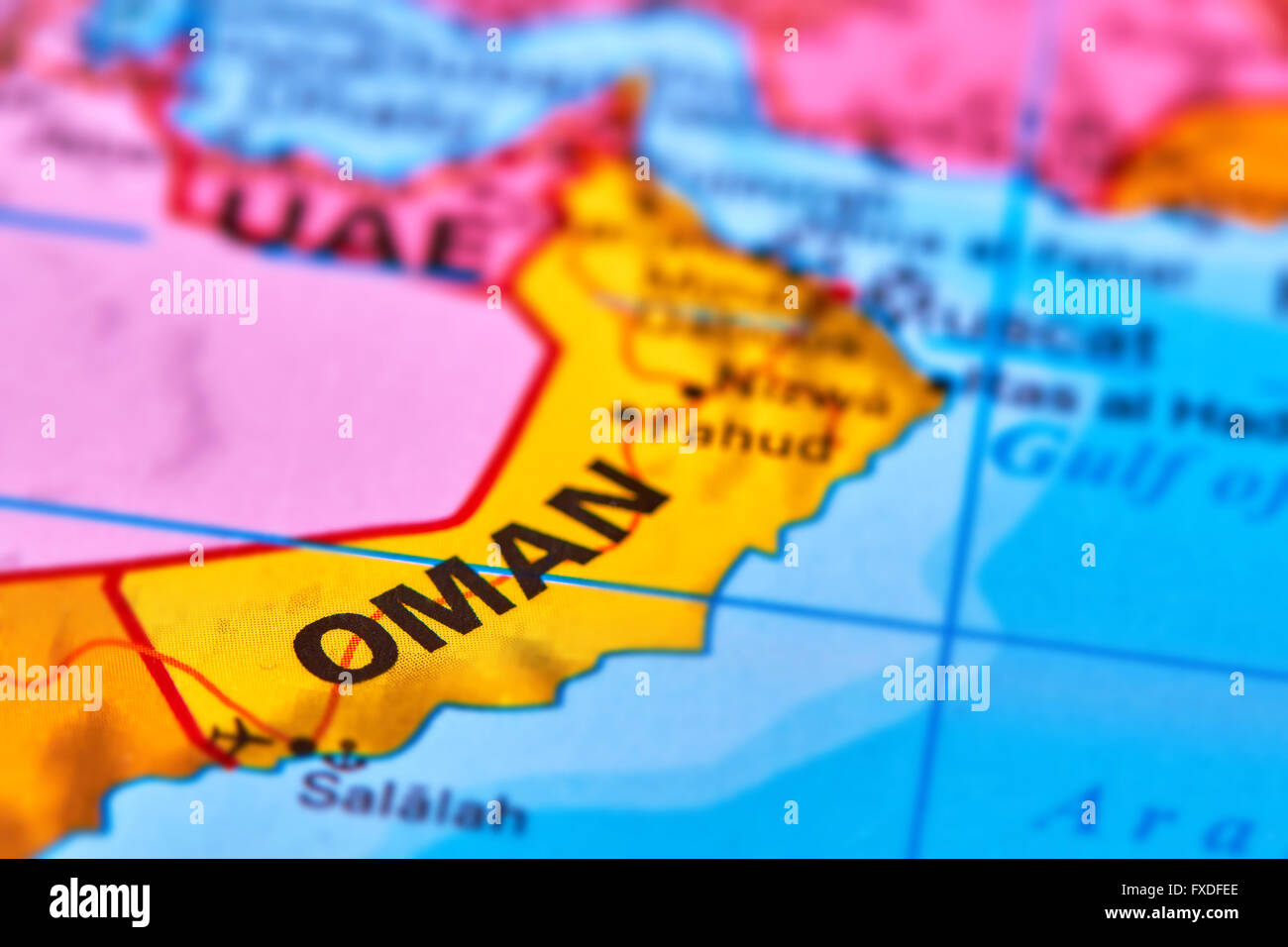 Oman Country In The Middle East On The World Map Stock Photo - Oman in world map