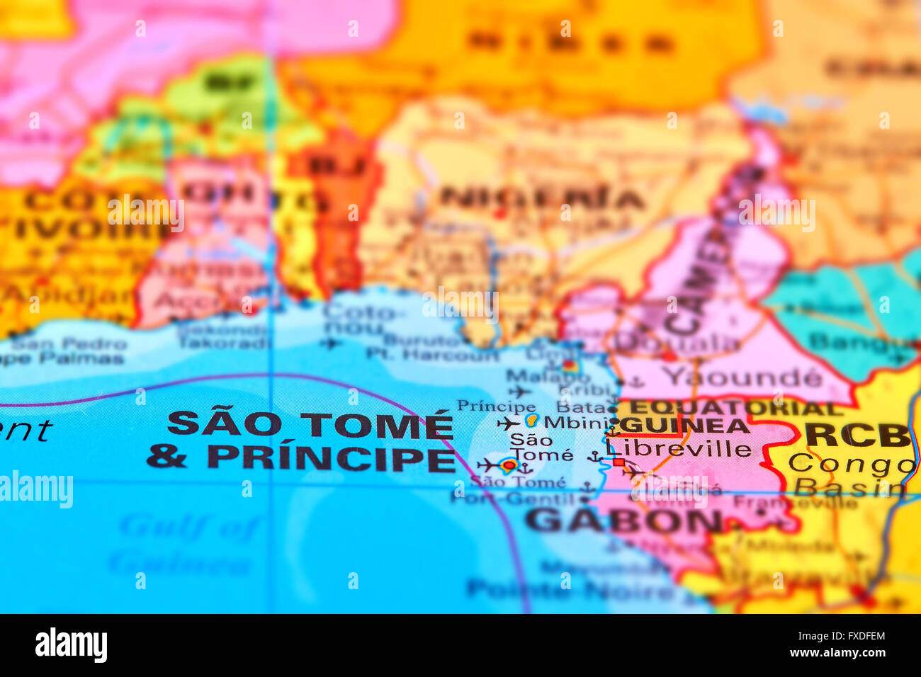 Sao Tome And Principe In Africa On The World Map Stock Photo - Sao tome and principe map