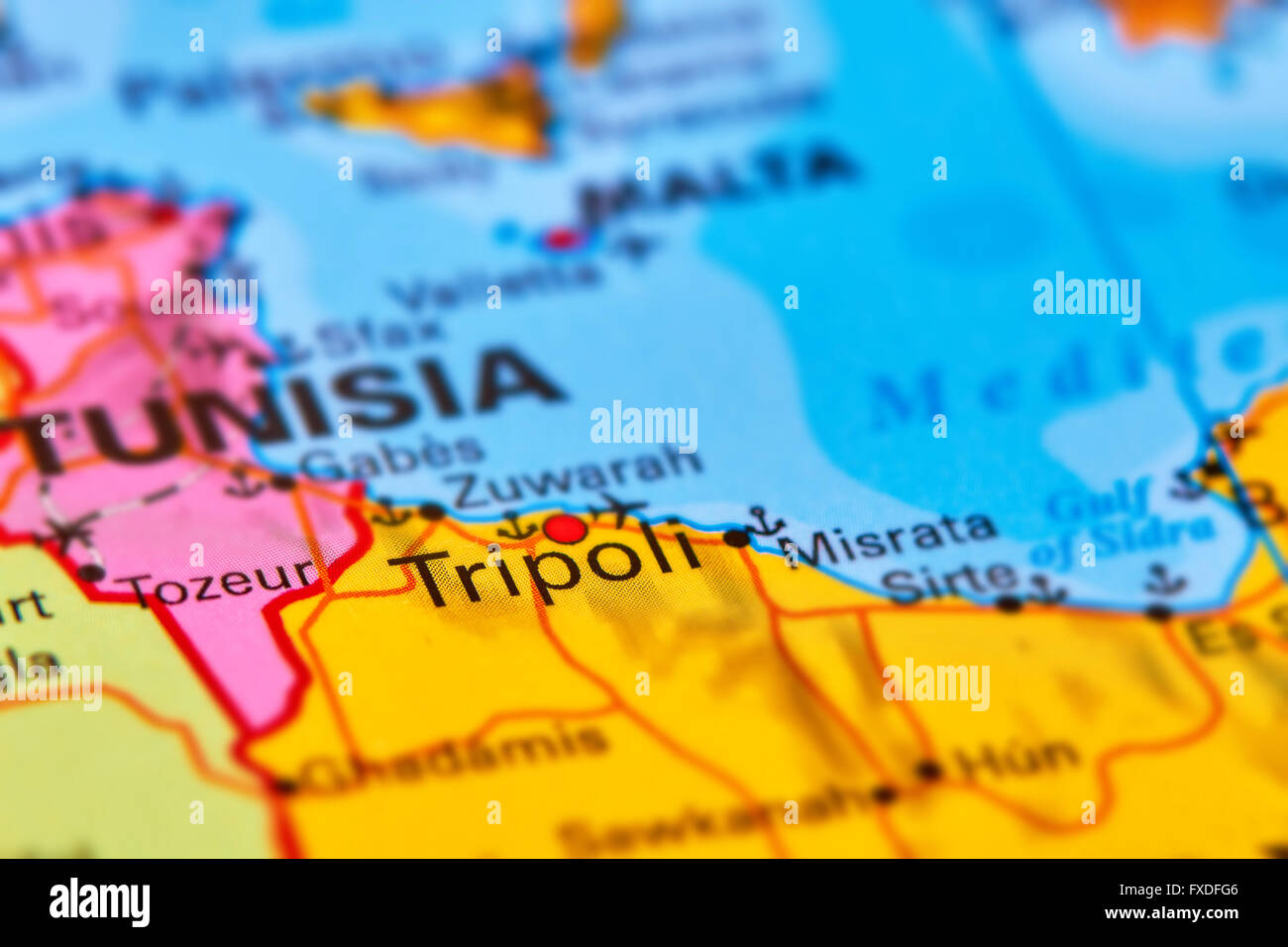 Tripoli Capital City of Libya in Africa on the World Map Stock