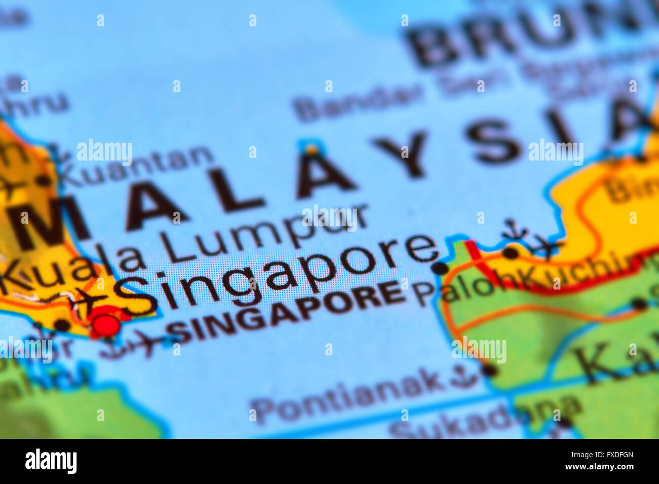Singapore Citystate in Asia on the World Map Stock Photo Royalty
