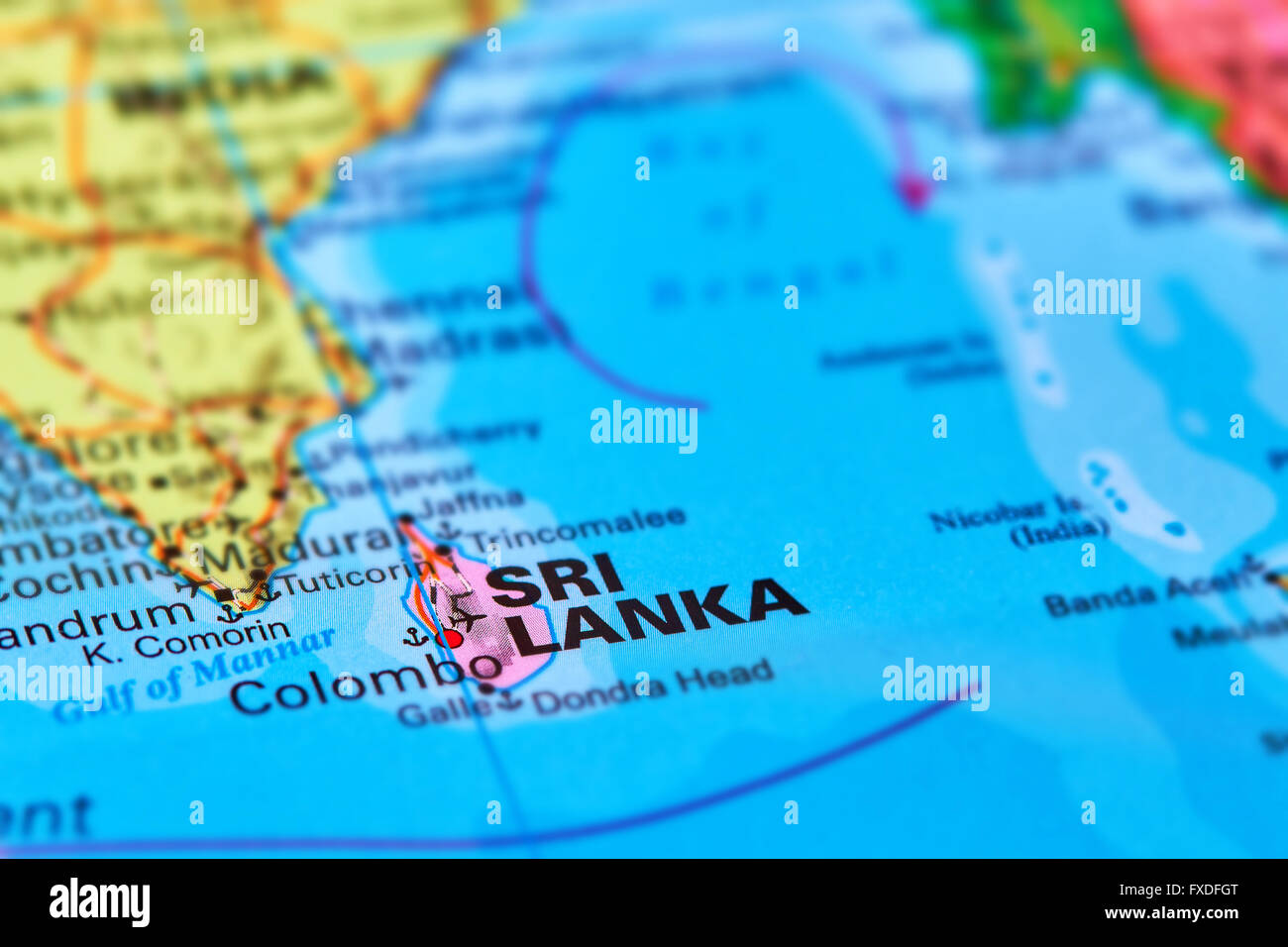 Sri Lanka Island Country in Indian Ocean Asia on the World Map