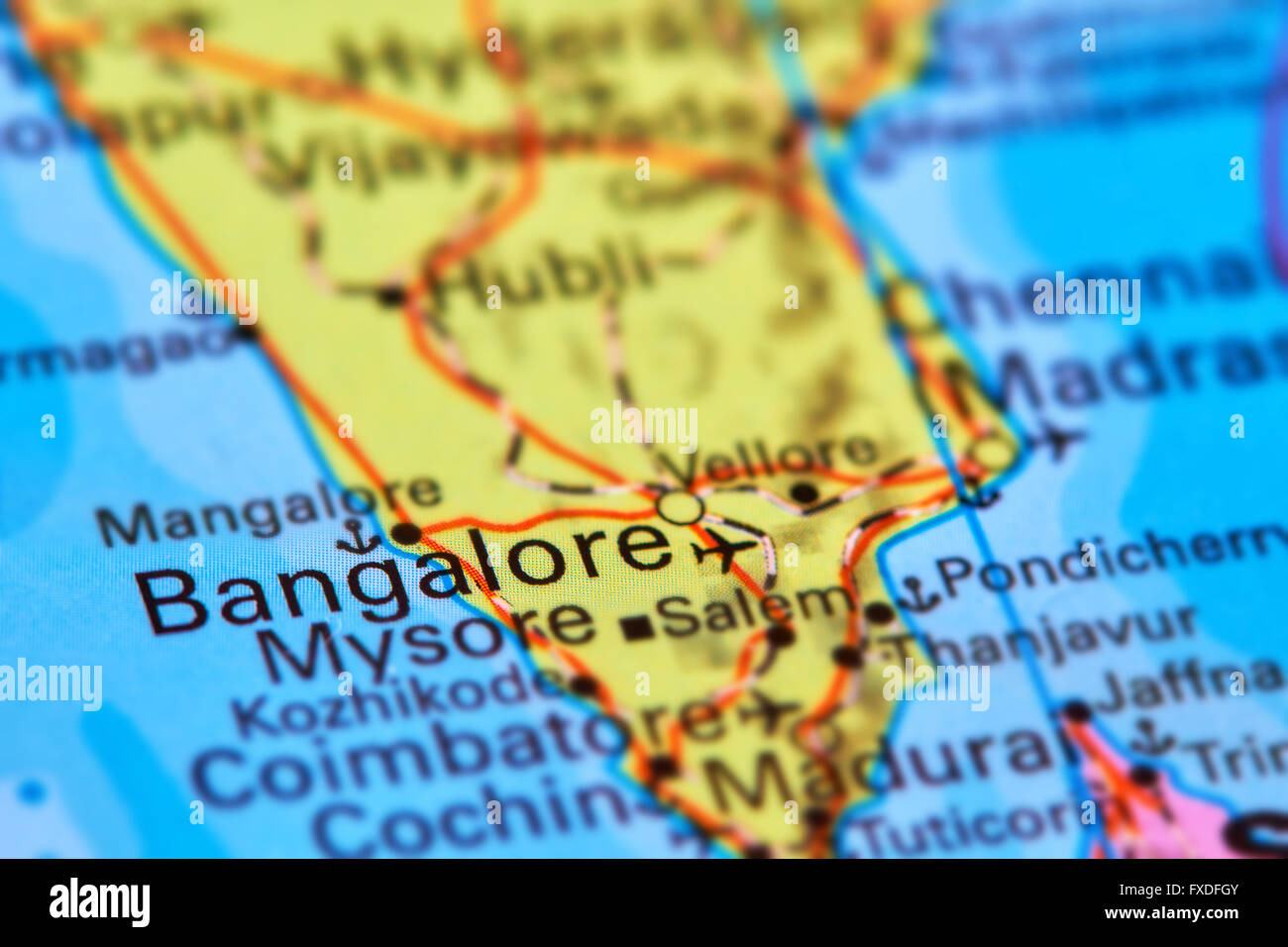 Bangalore City in India Asia on the World Map Stock Photo