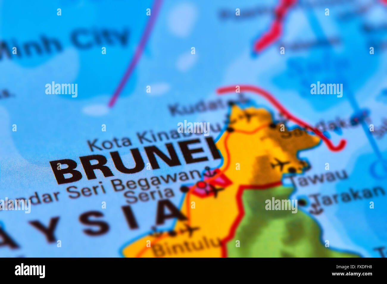 Brunei Asian Country on the World Map Stock Photo Royalty Free