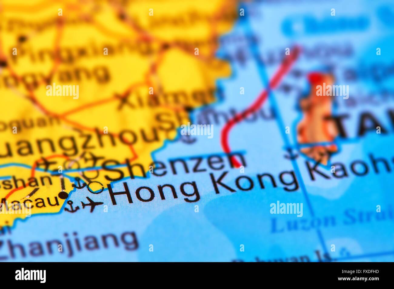 Hong Kong City in China on the World Map Stock Photo Royalty