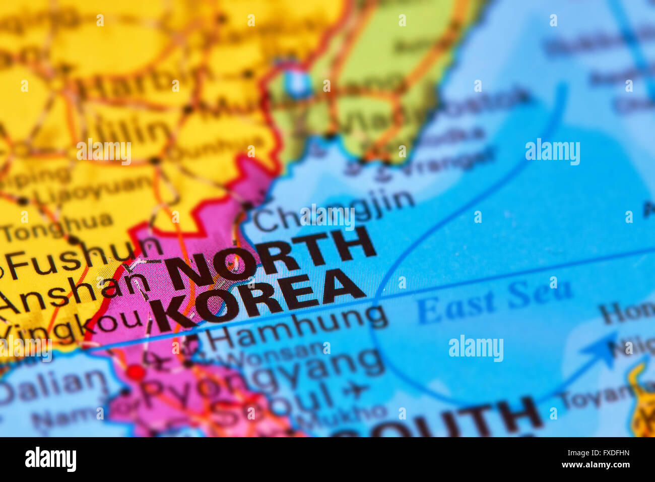 North Korea Asian Country On The World Map Stock Photo Royalty - World map north korea