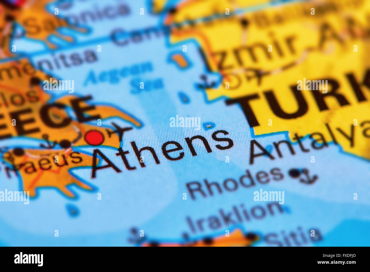 Athens Capital City of Greece on the World Map Stock Photo