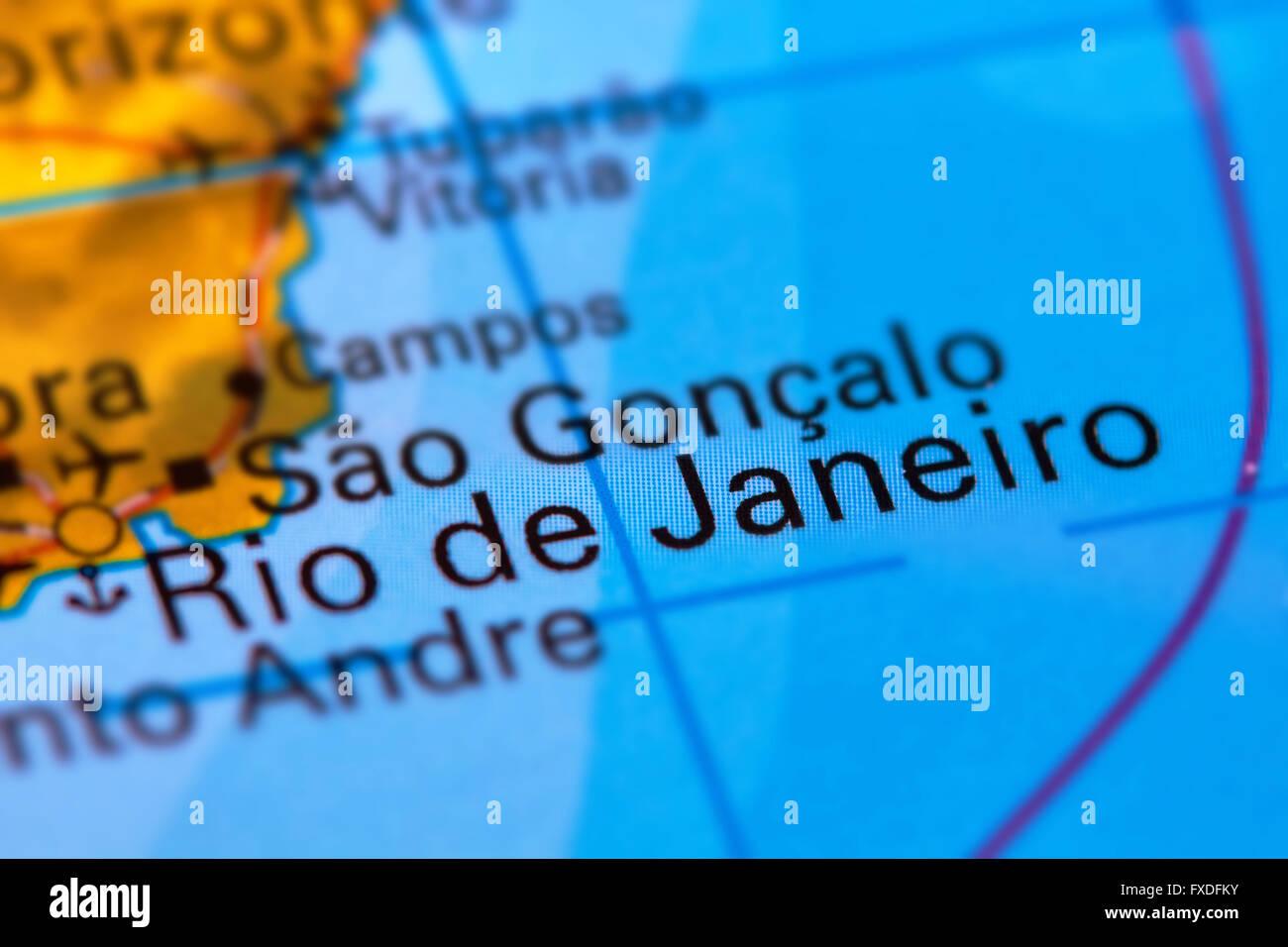Rio de Janeiro City in Brazil on the World Map Stock Photo