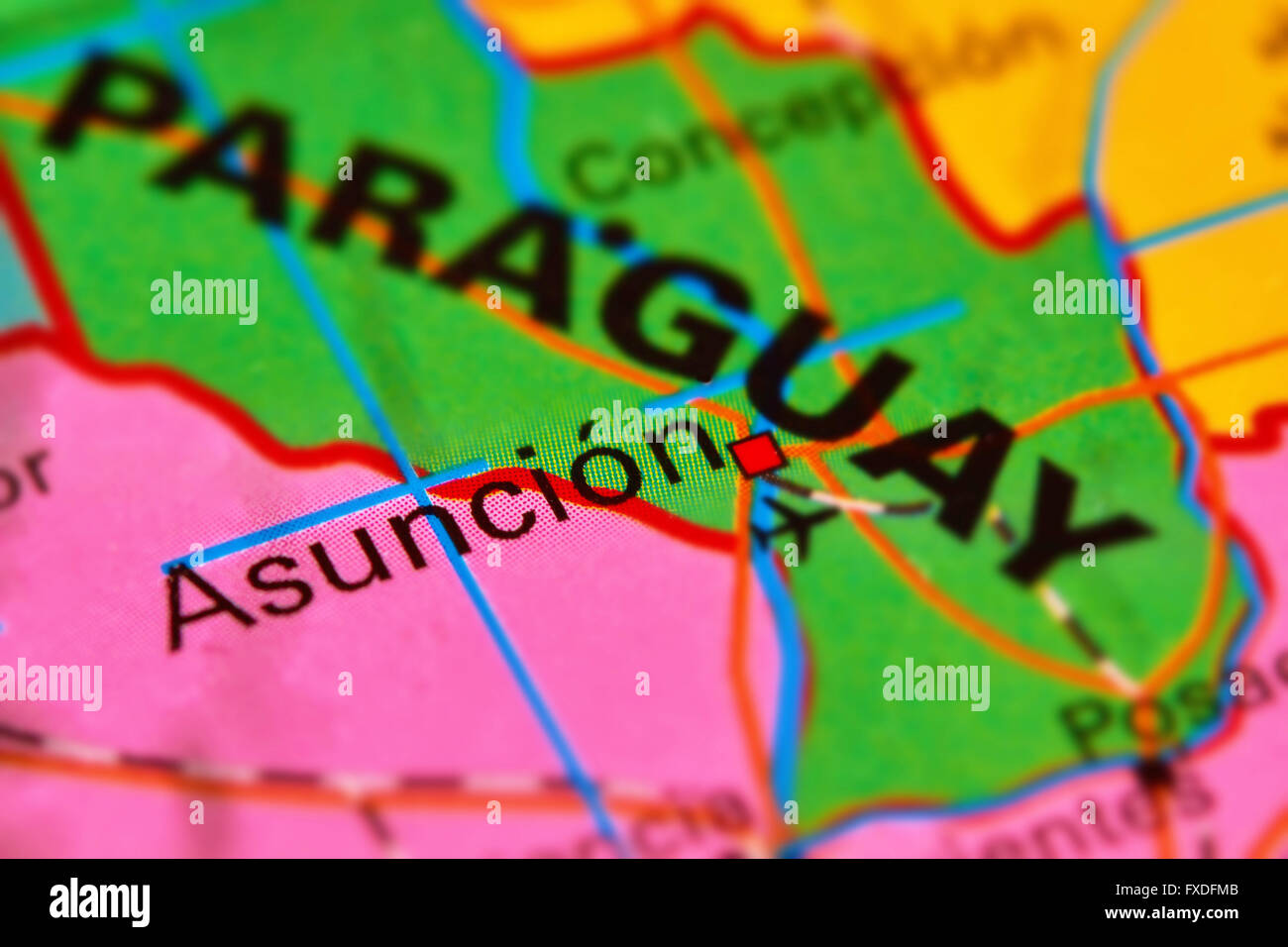 Paraguay and Capital City Asuncion on the World Map Stock Photo