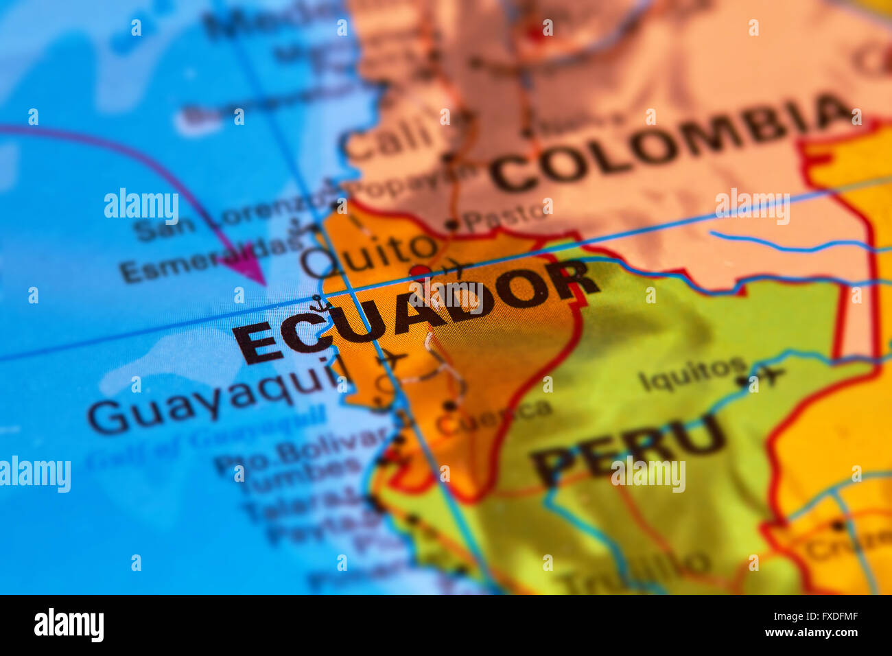 Ecuador and Capital City Quito on the World Map Stock Photo