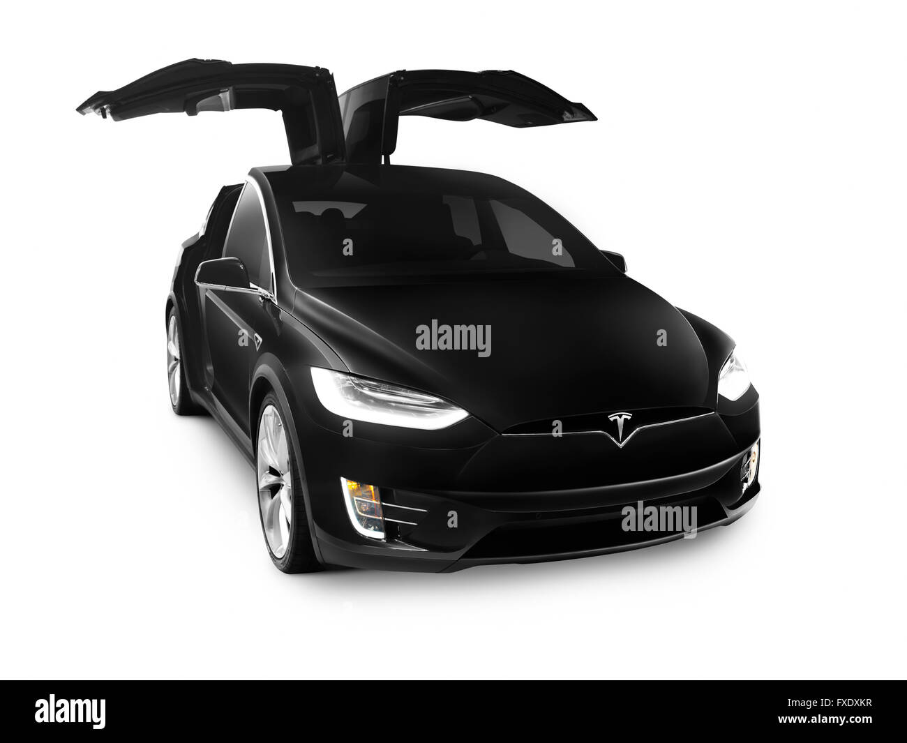 Black 2017 Tesla Model X luxury SUV electric car with open falcon wing doors isolated on white background  sc 1 st  Alamy & Black 2017 Tesla Model X luxury SUV electric car with open falcon ...