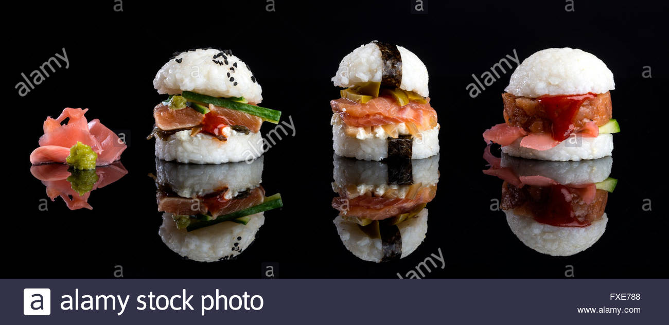 fusion cuisine sushi burgers, all with different fillings