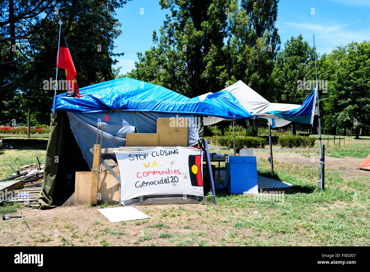 Aboriginal protest c& outside old Parliament House Canberra Australia Capital Territory ACT Australia & Aboriginal protest camp outside old Parliament House Canberra ...