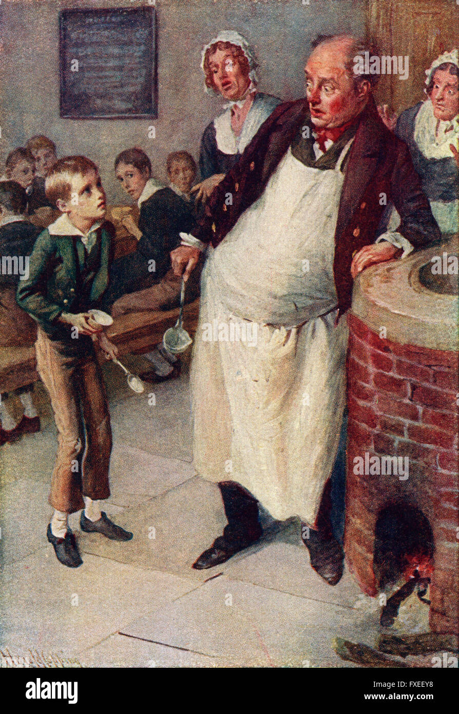 oliver twist stock photos oliver twist stock images alamy oliver twist asks for more illustration by harold copping stock image