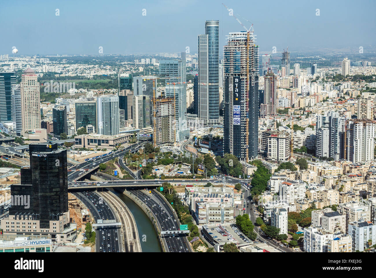 Ayalon Highway in Tel Aviv, Israel. Aerial view from ...