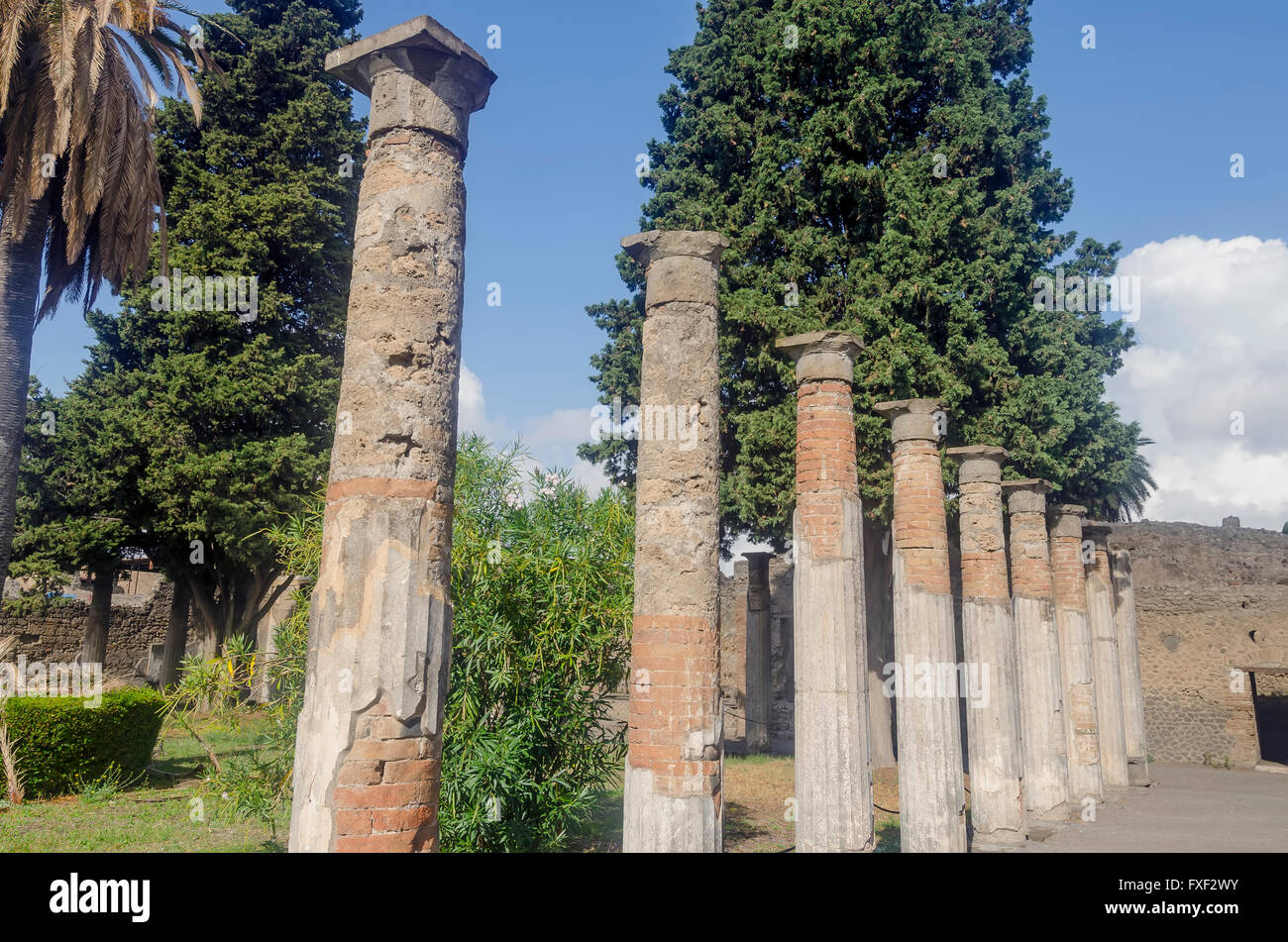 Standing Roman Columns Or Pillars In Garden Of House Of The Faun