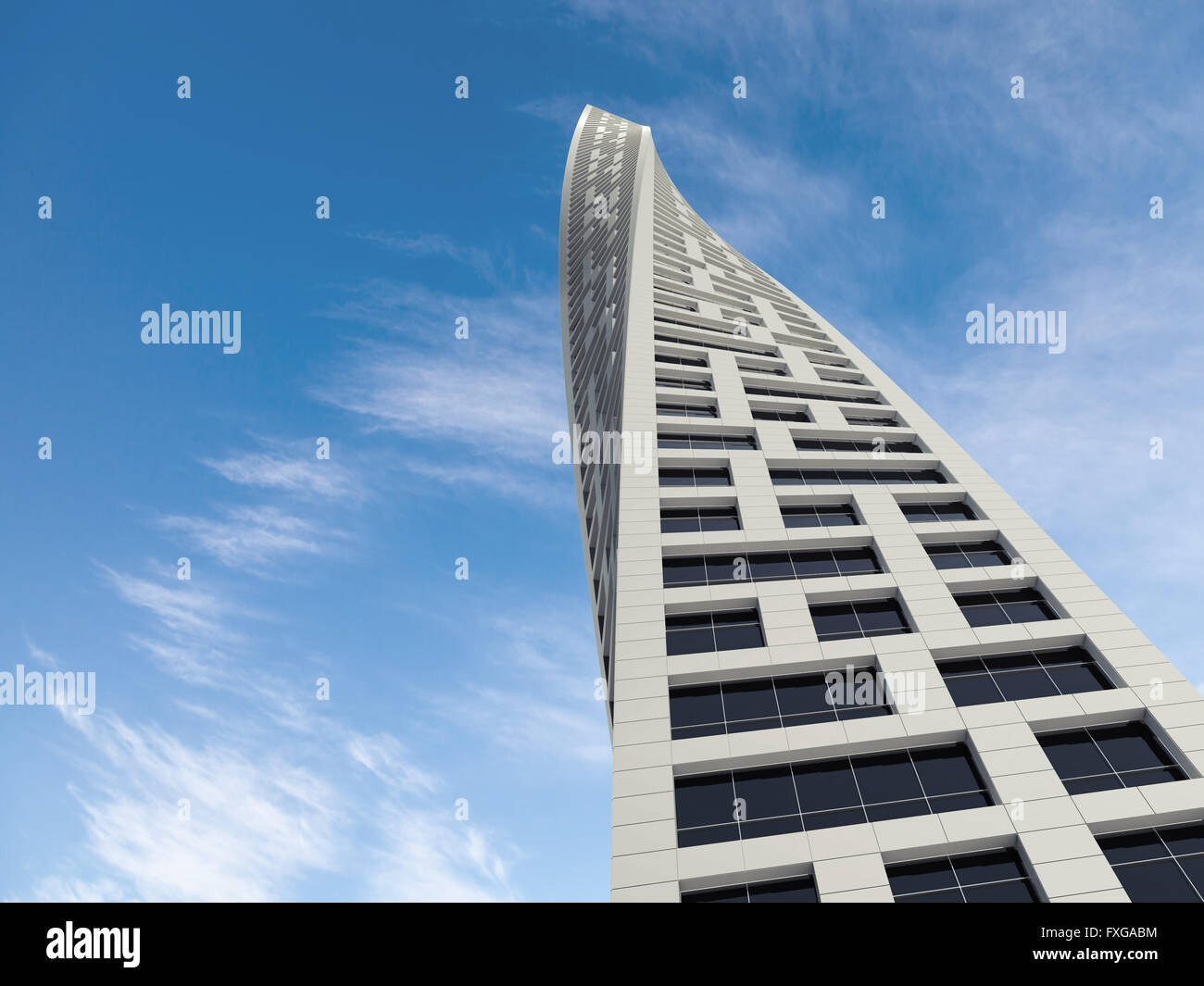 Modern Architecture Render abstract modern architecture. twisted office tower perspective