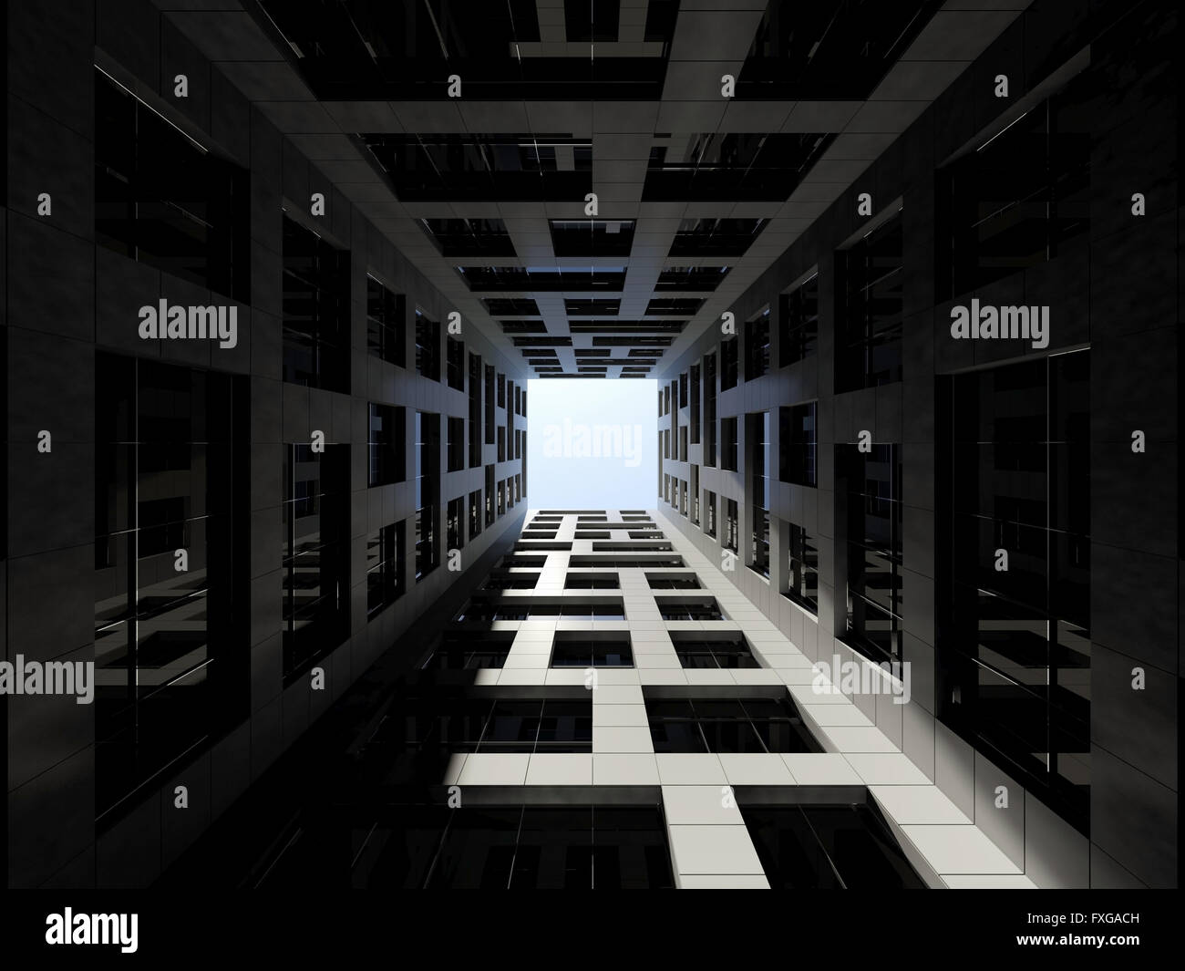 Modern Architecture Render abstract modern architecture. dark inner courtyard of tall modern