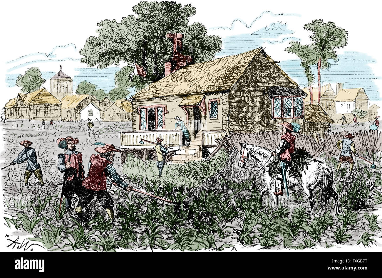 North american english colonies plantation 17th century for Homes in colonial america