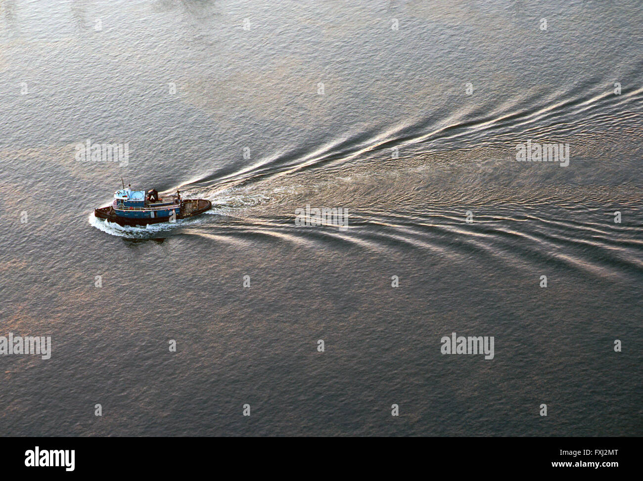 aerial view of tugboat in delaware river near philadelphia stock