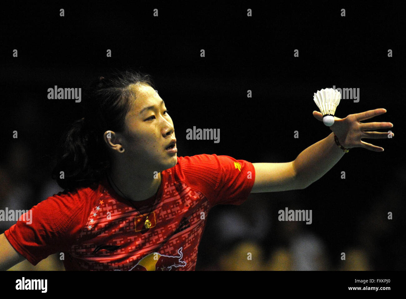 Singapore 16th Apr 2016 China s Sun Yu petes during the