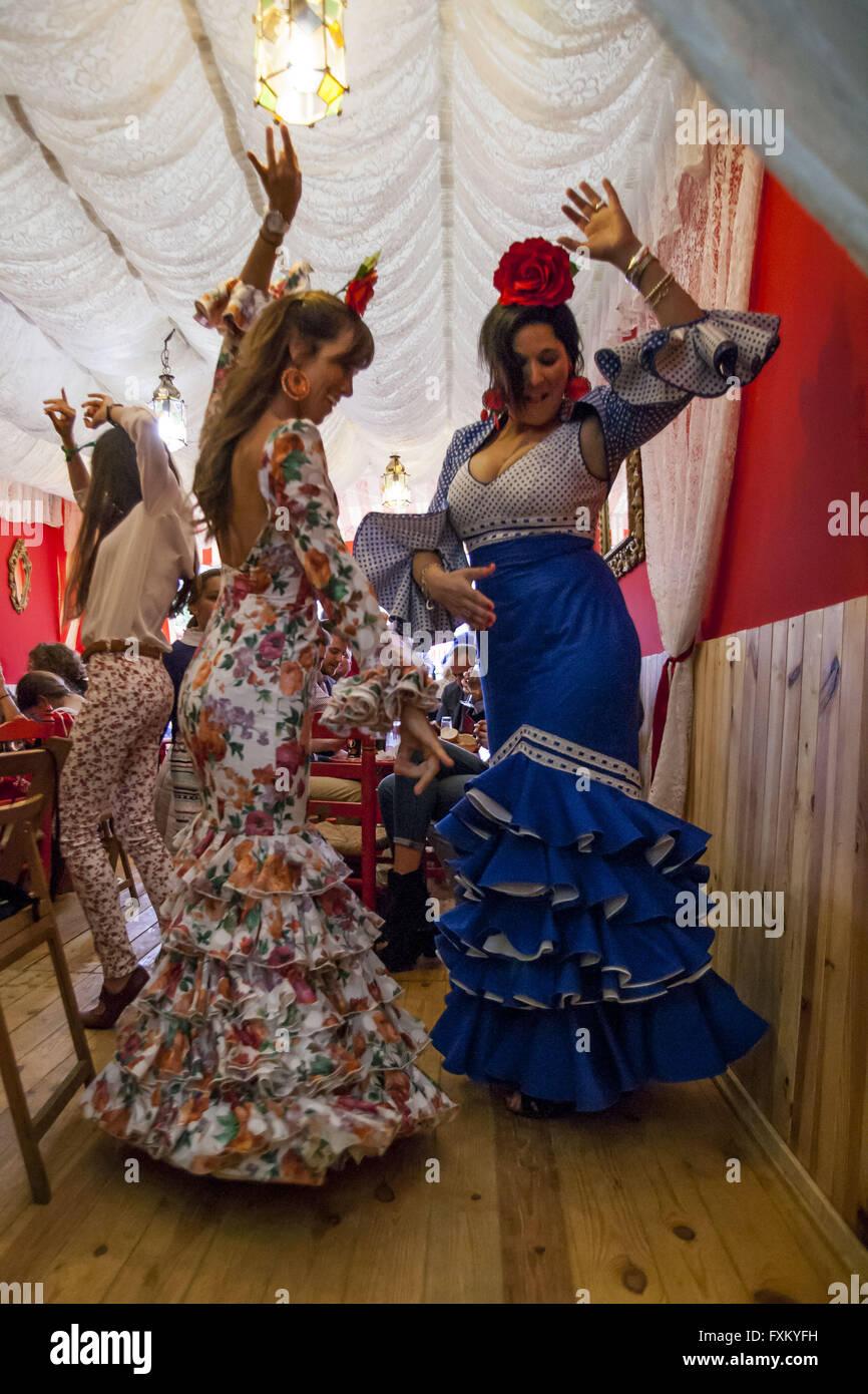 seville spain 16th apr 2016 two women dressed in flamenco
