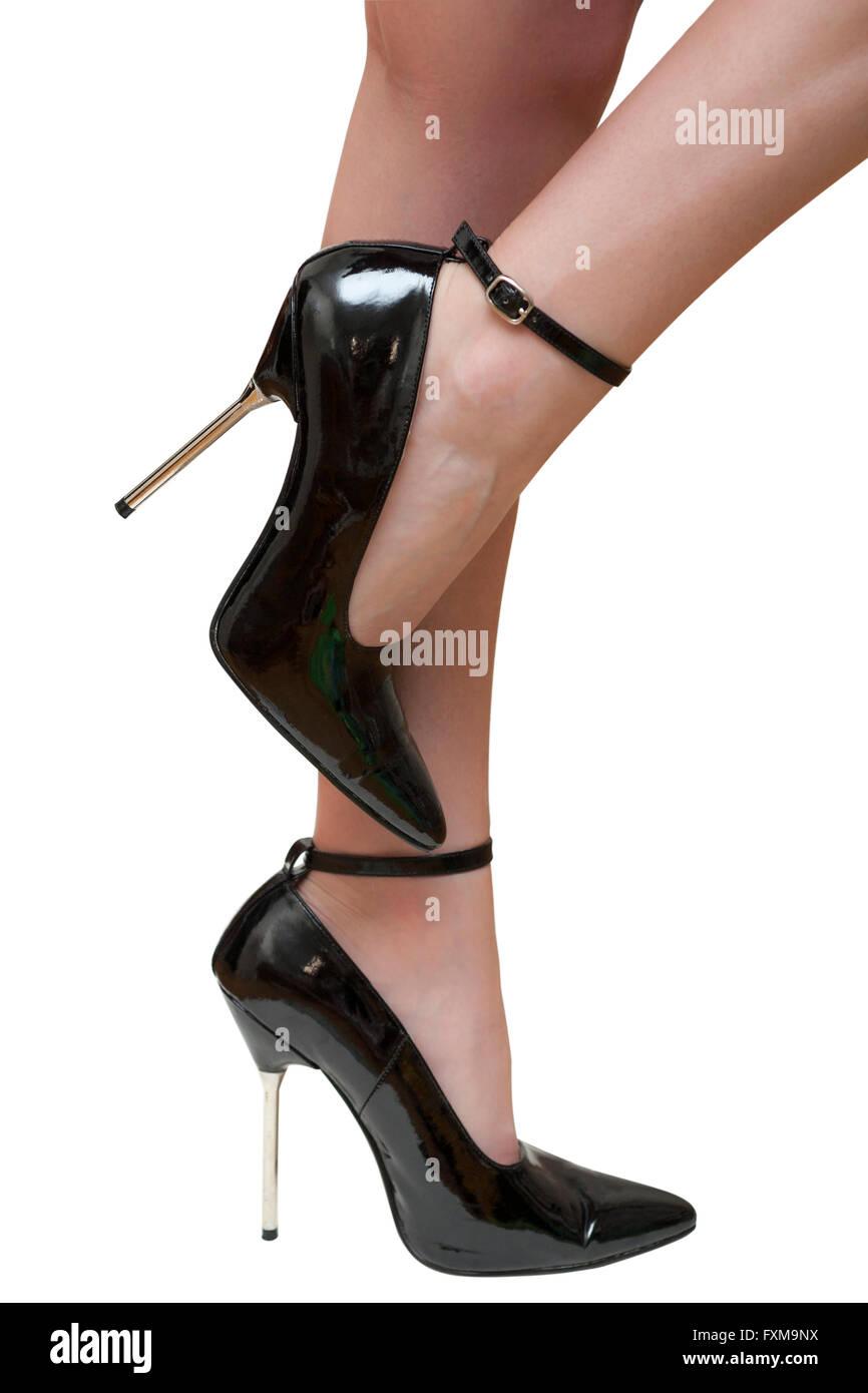 image Black patent domina sandals 55inch heels