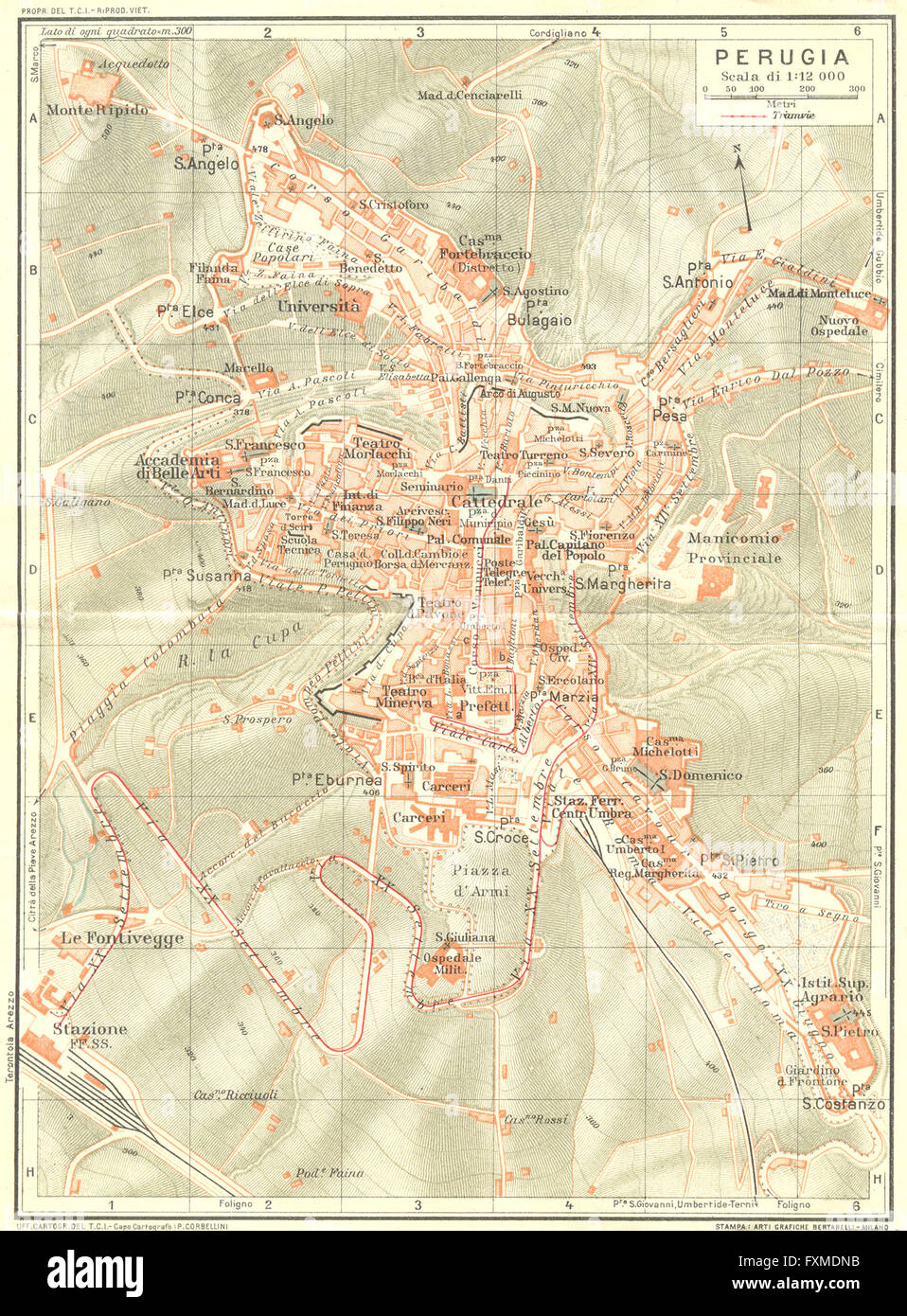PERUGIA Vintage town city map plan Italy 1927 Stock Photo