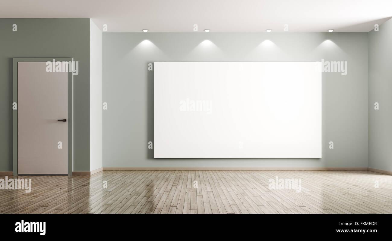 Big empty living room - Empty Interior Of Living Room With Big Poster And Door 3d Rendering