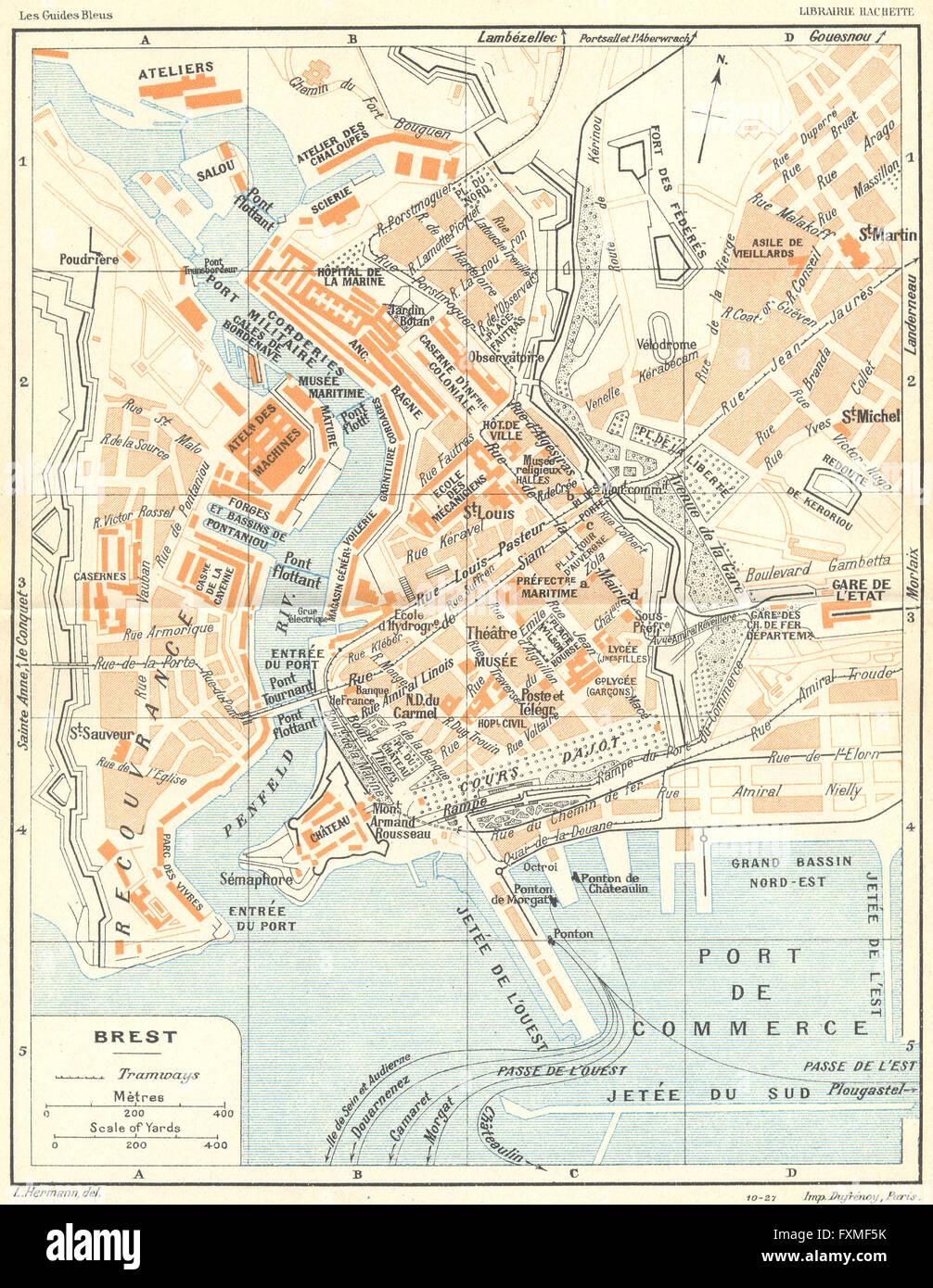 BRITTANY Bretagne Brest 1928 vintage map Stock Photo Royalty