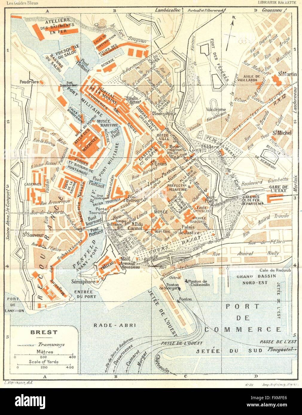 FRANCE Brest 1932 vintage map Stock Photo Royalty Free Image